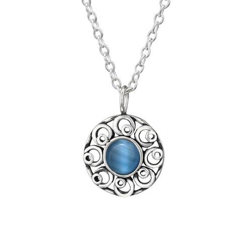 Hopeinen kaulakoru, Lemmikki -sininen kissansilmä kivi