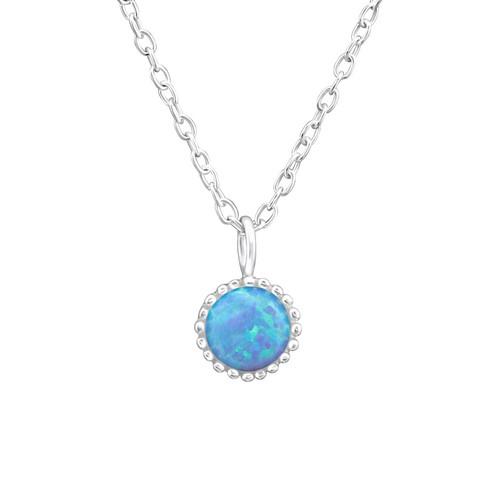 Hopeinen kaulakoru, Round Imitation Opal in Blue