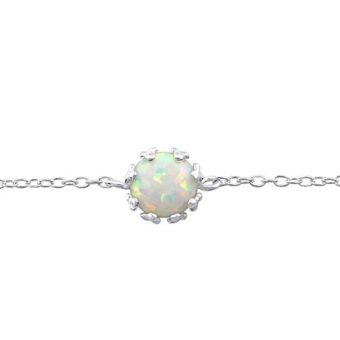 Hopeinen rannekoru, Fire Snow -valkoinen opaalinhohtoinen kivi