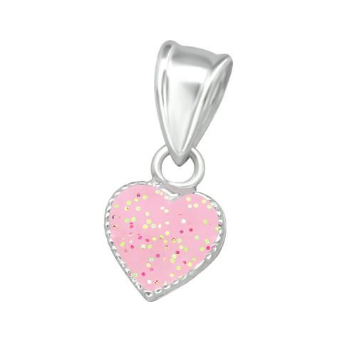 Lasten hopeinen riipus, Pink Heart -vaaleanpunainen sydän