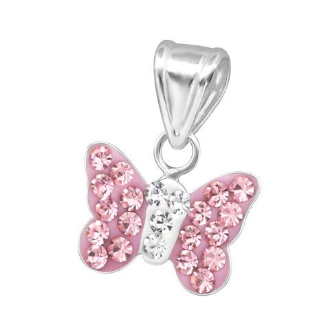 Lasten hopeinen riipus, Pink Butterfly -vaaleanpunainen perhonen