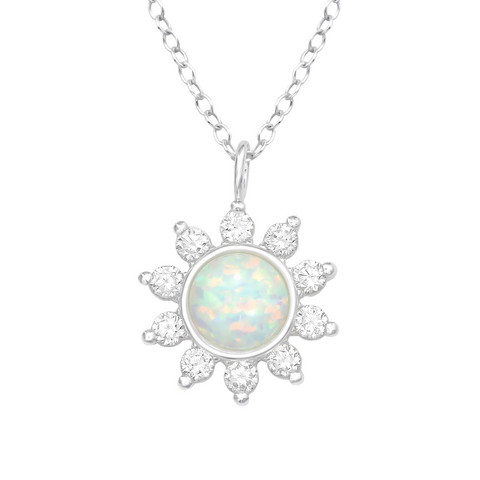 Hopeinen kaulakoru, Silver Sunflower -auringonkukka