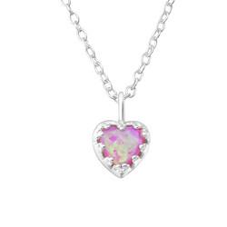 Hopeinen kaulakoru, Bubble Gem Heart -vaaleanpunainen sydän
