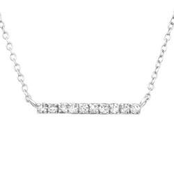 Hopeinen kaulakoru, Trendy Silver Necklace with CZ