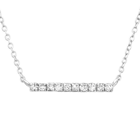 Hopeinen kaulakoru, Trendy Silver Necklace with CZ