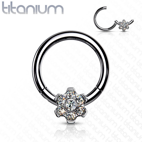 Lävistysrengas, Implant Grade Titanium Ring with CZ Flower