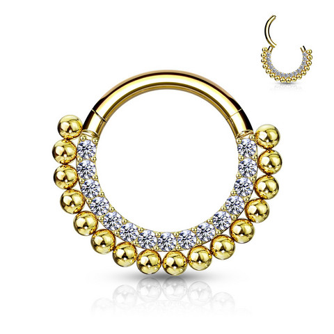 Lävistysrengas, High Quality Hinged Ring Paved CZ and Balls in Gold