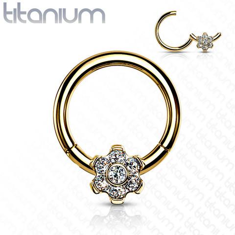 Lävistysrengas, Implant Grade Titanium Ring with CZ Flower in Gold