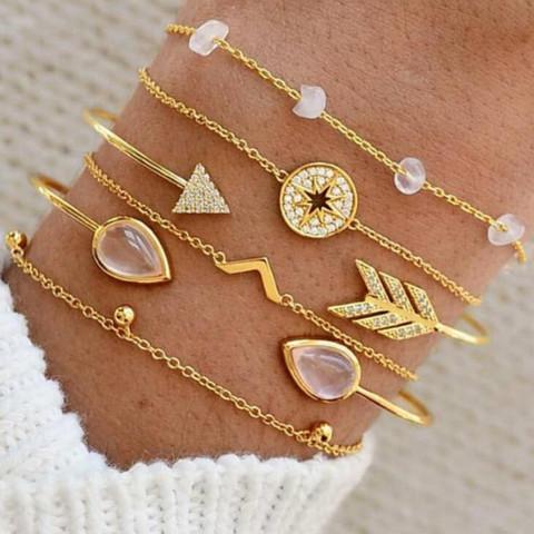 Rannekorusetti, FRENCH RIVIERA Pretty Gold Boho Bracelets