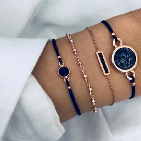 Rannekorusetti, FRENCH RIVIERA| Black & Gold Marble Bracelets