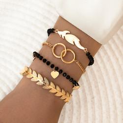 Rannekorusetti, FRENCH RIVIERA| Black & Gold Simple Bracelets