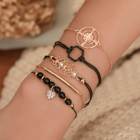 Rannekorusetti, FRENCH RIVIERA| Black & Gold Adventure Bracelets