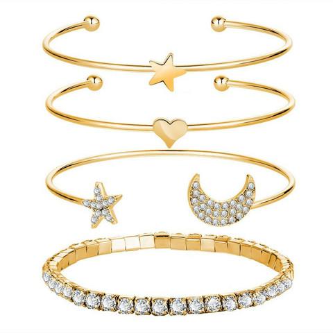 Rannekorusetti, FRENCH RIVIERA|Moon & Stars Gold Bracelets