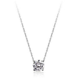 Kaulakoru, White Gold Plated Zirconia Necklace -valkokullattu koru