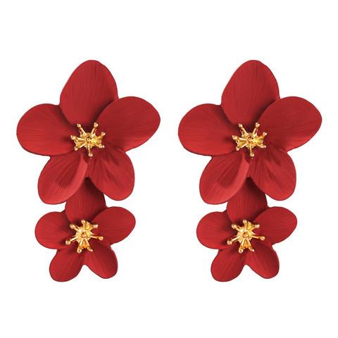 Korvakorut, FRENCH RIVIERA Flower Earrings in Red -punaiset kukat