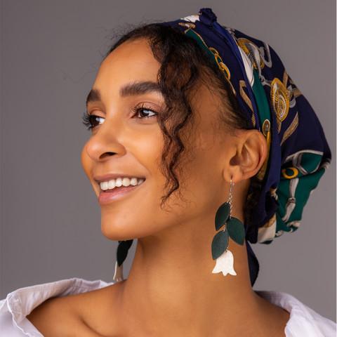 LEMPI-korvakorut, Frida (vihreä, valkoinen)