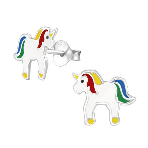 Hopeiset korvanapit, Pretty Unicorn -valkoinen yksisarvinen