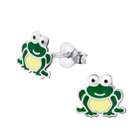 Hopeiset korvanapit, Green Frog Earstuds -vihreä sammakko