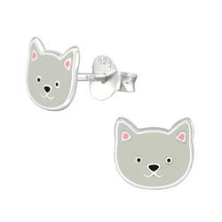 Hopeiset korvanapit, Grey Kitten Earstuds -harmaa kissanpentu
