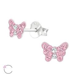Lasten hopeakorvakorut, LA CRYSTALE, Pink Butterfly