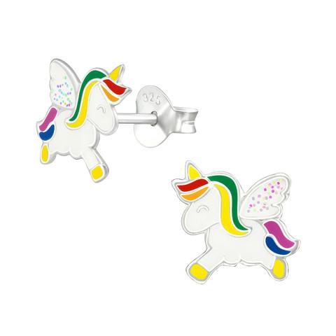 Hopeiset korvanapit, Unicorn with Glitter Wings-valkoinen yksisarvinen