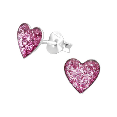 Hopeanapit, Purple Glitter Heart -violetti sydän