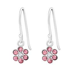 Lasten hopeakorvakorut, Pink Glitter Flower -vaaleanpunainen kukka