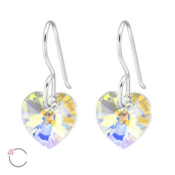 Hopeakorvakorut, LA CRYSTALE, Heart Earrings in AB Clear