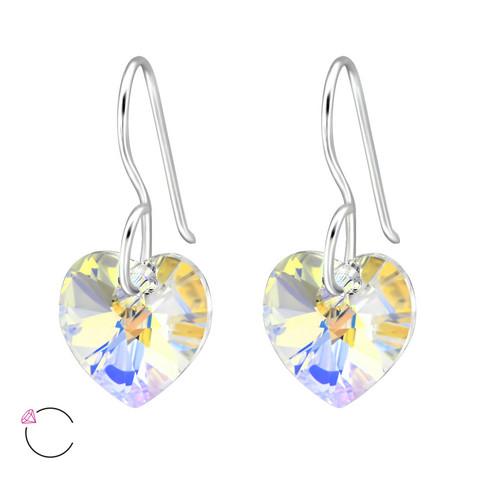 Hopeakorvakorut, LA CRYSTALE, Heart Earrings in AB Clear