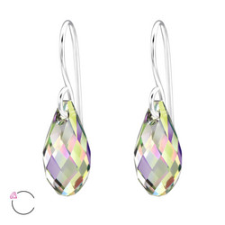 Hopeakorvakorut, LA CRYSTALE, Teardrop Earrings in AB Grey