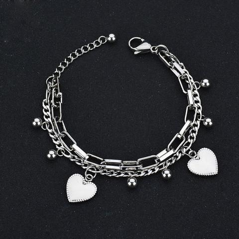 Kirurginteräsrannekoru, Heart Charm Bracelet