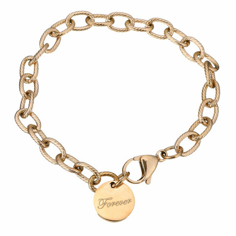 Kirurginteräsrannekoru, Forever Charm Bracelet in Rosegold