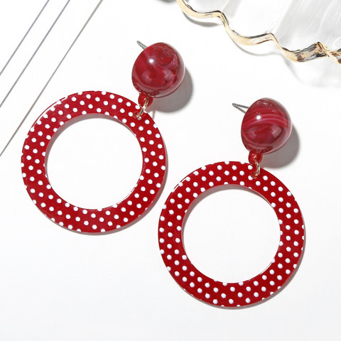 Korvakorut, Red Polkadot Earrings -punaiset korvakorut pilkuilla