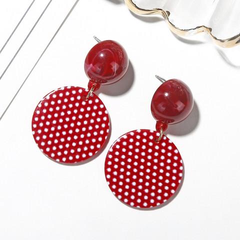 Korvakorut, Red Round Polkadot Earrings -punaiset korvakorut pilkuilla