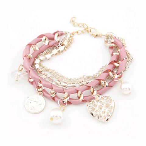 Rannekoru, Romantic Charm Bracelet -vaaleanpunainen rannekoru