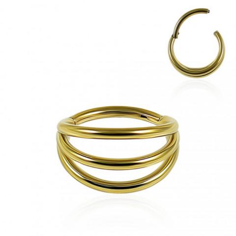 Lävistysrengas, Wide Triple Layered Segment Clicker in Gold