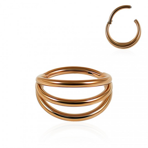Lävistysrengas, Wide Triple Layered Segment Clicker in Rosegold