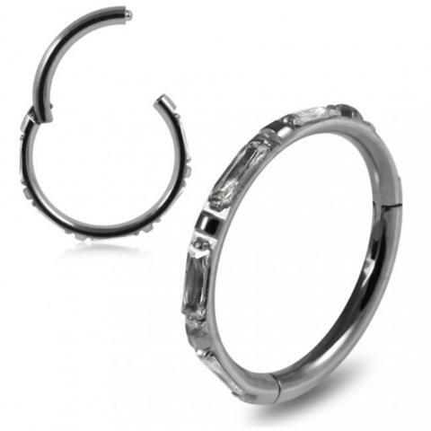 Lävistysrengas, Premium CZ Segment Clicker in Steel