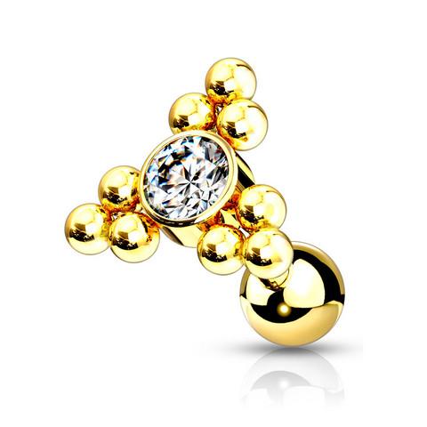 Rustokoru/traguskoru, Gold Ball Cluster Triangle Top with CZ in Clear