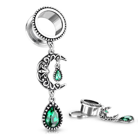 Tunneli 10mm, Filigree Moon with Emerald Green Stone Set Pear Dangle