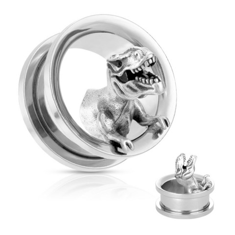 Tunneli 12mm, T-Rex Dinosaur 316L Surgical Steel