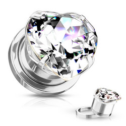 Plugi 8mm, Heart Zircon Prong Set Front