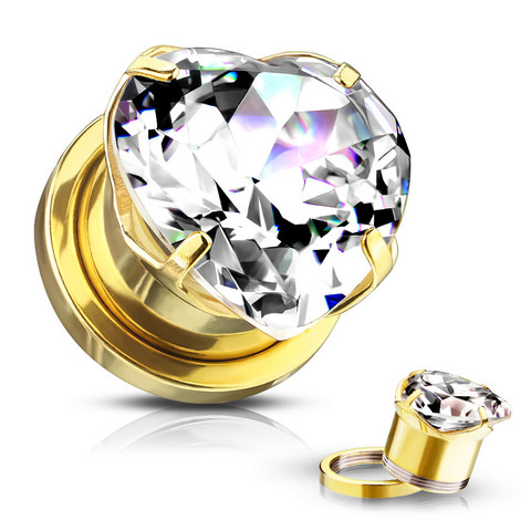 Plugi 10mm, Heart Zircon Prong Set Front in Gold