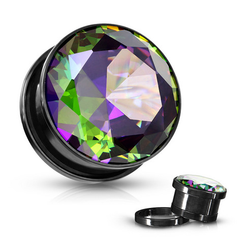Plugi 12mm, Black with Cubic Zirconia in Multicolor