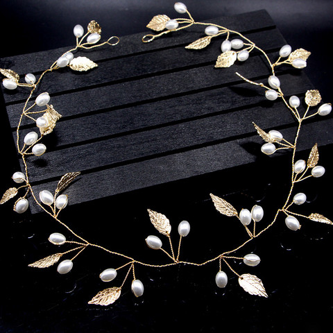 Hiuskoru, panta/ROMANCE, Simple Pearl Headpiece with Gold Leafs