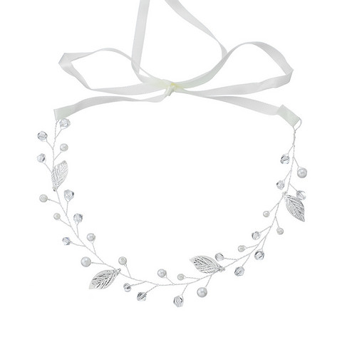Hiuskoru, panta/ROMANCE, Dainty Pearl Headpiece with Silver Leafs