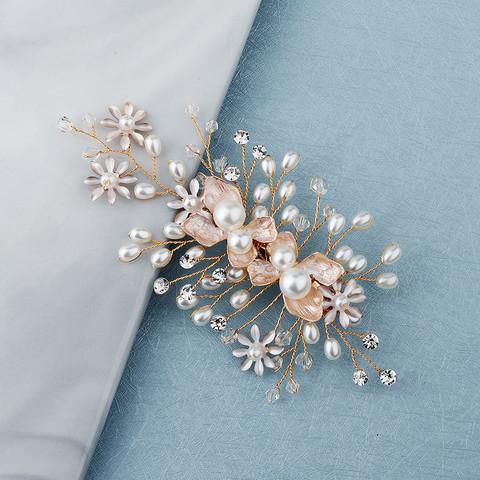 Hiuskoru, klipsi/ROMANCE, Rosegold Hairpiece with Soft Pink Flowers