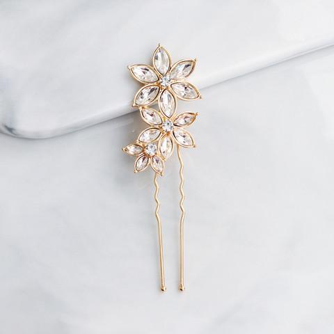 Hiuskoru, nutturaneula/ROMANCE, Simple Flower Hairpiece in Gold