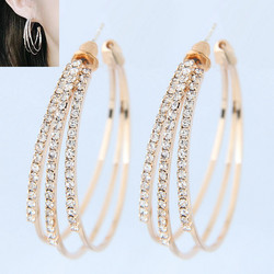 Korvakorut, Three Layer Gold Hoops -strassirenkaat