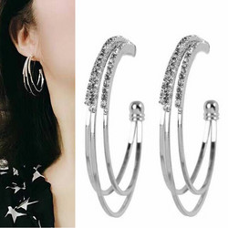 Korvakorut, Three Layer Silver Hoops -strassirenkaat